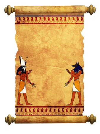 ancient egyptian culture: Scroll with Egyptian gods images - Anubis and Horus. Object over white Stock Photo
