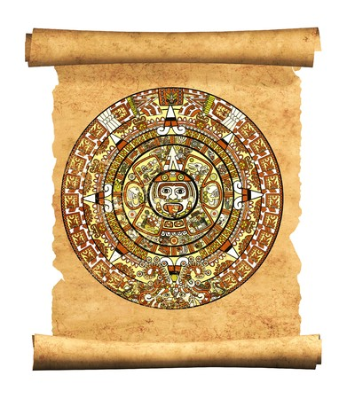 mayan prophecy: Maya calendar on ancient parchment - over white