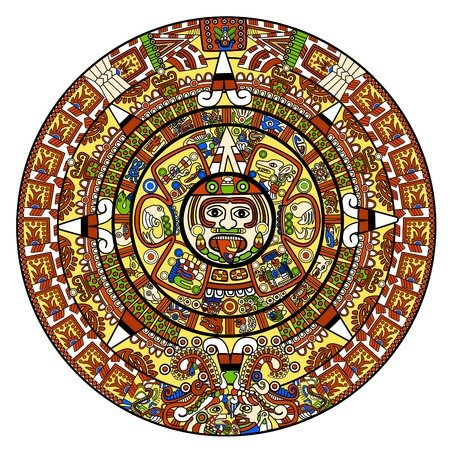 mayan prophecy: Maya calendar illustration - over white Stock Photo