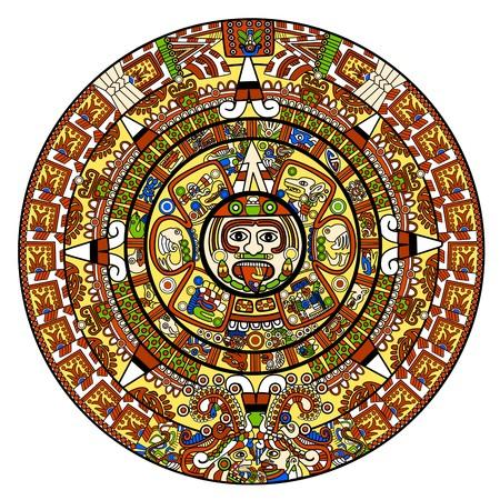 Maya calendar illustration - over white Stock Illustration - 7386434