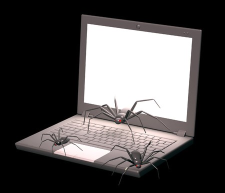 penetration: Penetration into a computer of a virus from Internet Stock Photo