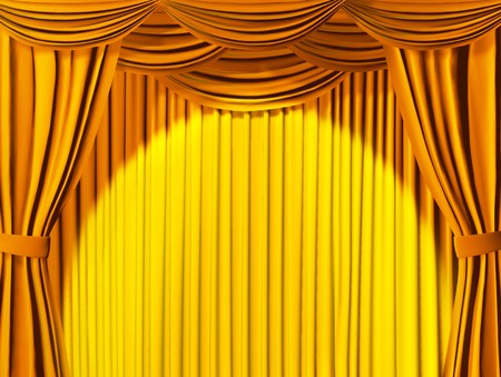 stage projector: Theatrical curtain of yellow color