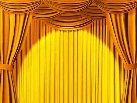 Theatrical Vorhang von gelben Farbe
