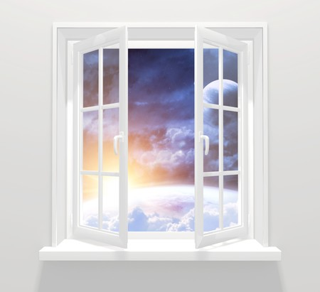 Collage - window in other galaxy Stock Photo - 7437380