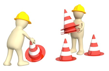 safety at work: Two 3d puppets with emergency cones