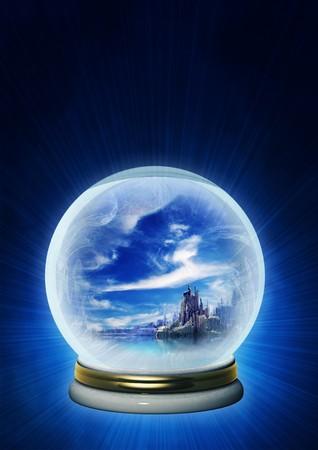 Landscape of fantasy world in magic ball photo