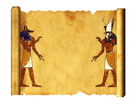 Scroll with Egyptian gods images - Anubis and Horus. Object over white photo