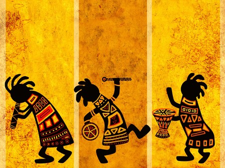 african drums: Dancing musicians. African traditional patterns