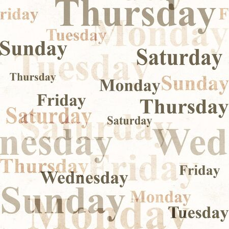 Grunge background with names of days of week photo