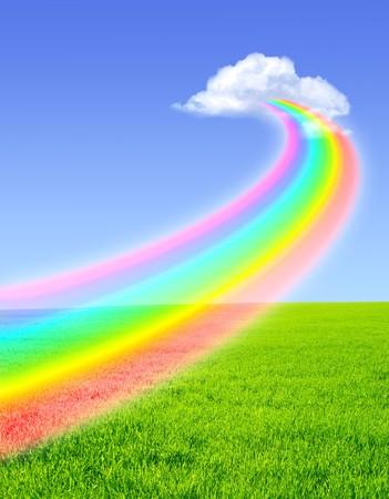 Beautiful bright rainbow in the blue sky