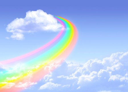 Beautiful bright rainbow in the blue sky 版權商用圖片 - 7437367