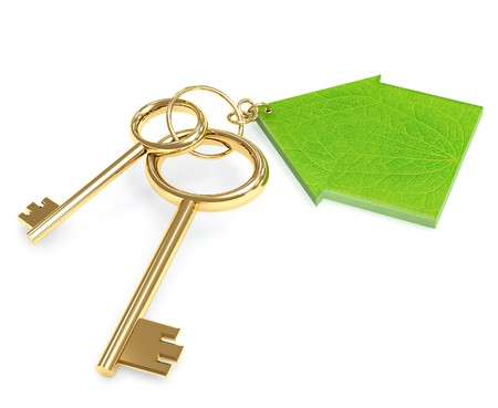 Two 3d gold keys with label. Objects over white photo