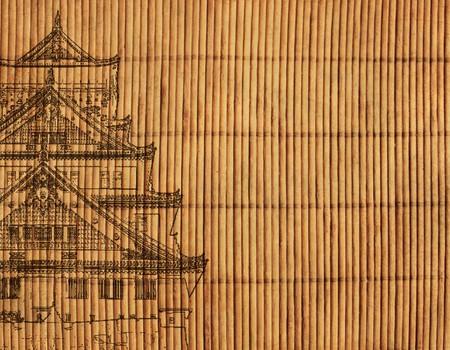 canne: Sfondo - un tappeto antico giapponese reed