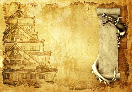 Grunge background with dragons and scrolls of old parchment photo