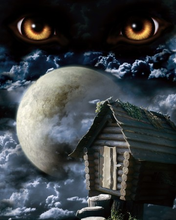halloween eyeball: Dark series - full moon. Horror in night