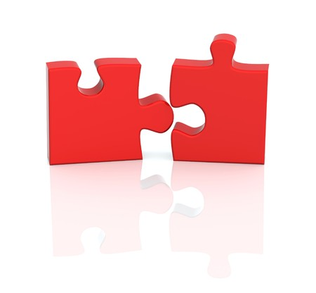 red puzzle piece: Two parts of a puzzle. Object over white