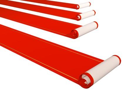 Conceptual 3d image - four red carpets photo