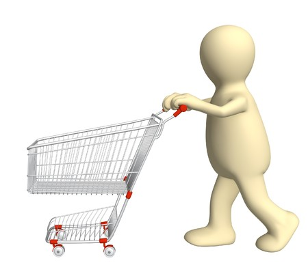 3d puppet, going for purchases - over white Stock Photo - 7579727