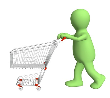 3d puppet, going for purchases - over white Stock Photo - 7579728