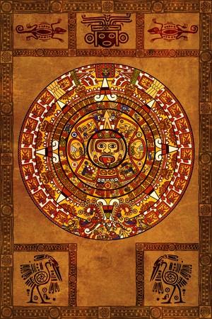 cultura maya: Calendario Maya en pergamino antiguo  Foto de archivo