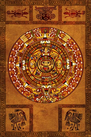 mayan culture: Maya calendar on ancient parchment Stock Photo
