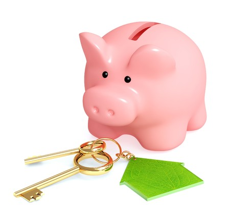 deposit: Piggy bank and keys - over white