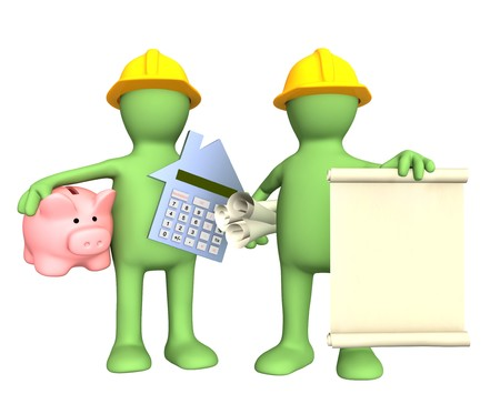 Builders with rolls of documents and piggy bank photo