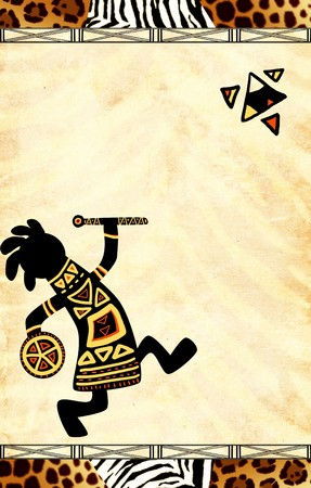 native african ethnicity: Dancing musicians. African traditional patterns
