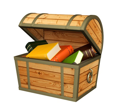 treasure box: Books in wooden chest. Isolated over white