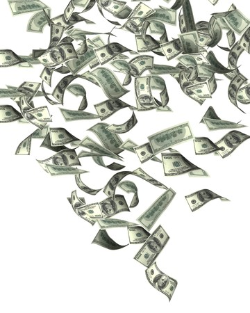 money flying: Symbol of wealth and success -  rain from dollars