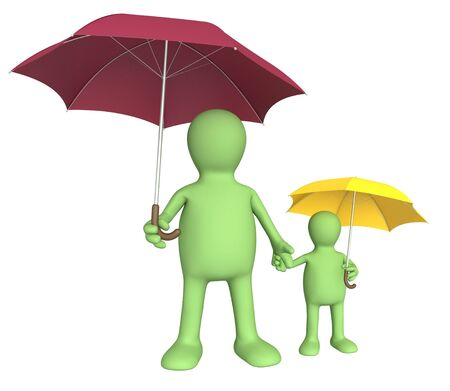 Adult and child with umbrellas. Isolated over white photo