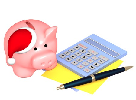 christmas debt: Money to Christmas. Piggy bank in hat. Isolated ovet white Stock Photo