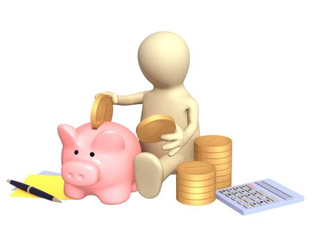 making a save: Puppet, piggy bank and calculator. Isolated over white