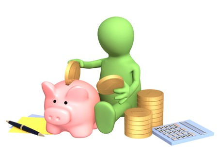 postpone: Puppet, piggy bank and calculator. Isolated over white