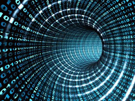 トンネル: インターネットの概念 - 3d 抽象的なブルー トンネル