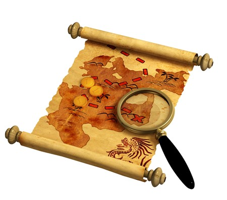 rolled scroll: Pirate map. A way to treasure