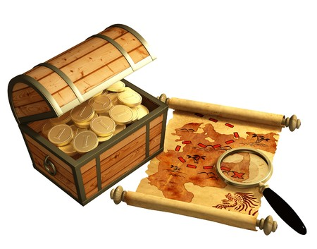 antique coins: Pirate map. A way to treasure