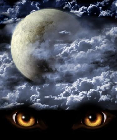 loup garou: S�rie noire - pleine lune. Horreur dans la nuit  Banque d'images