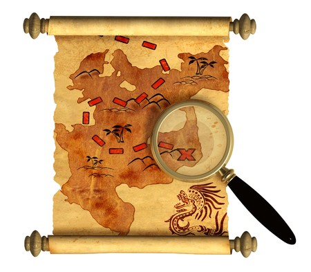 Pirate map. A way to treasure photo