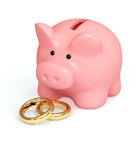 Money for wedding. Piggy bank and wedding rings photo