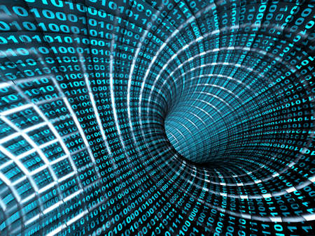 Internet concept -  3d abstract blue tunnel photo