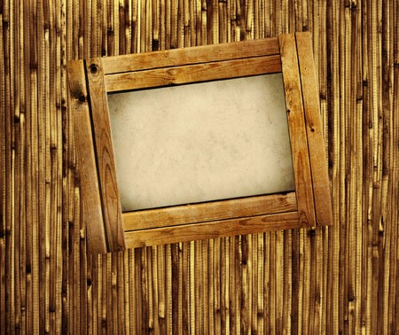 bamboo mat: Retro frame on bamboo wall - collage