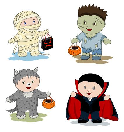 Children in masks - zombie, mummy, werewolf and vampire  Vector