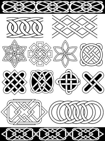 gaelic: Set -  celtic patterns. Isolated over white