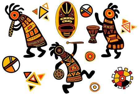 etnia: patrones tradicionales africanos - bailando músicos  Vectores