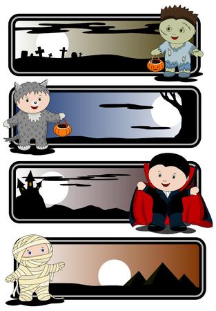 wilkołak: Halloween banery - zombie, mumii, WilkoÅ'ak i Wampir  Ilustracja