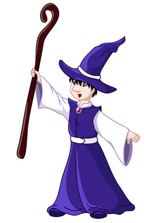 Jonge tovenaar - illustratie. Geïsoleerd over wit