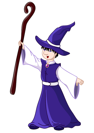 wizard hat: Young wizard - illustration. Isolated over white Illustration