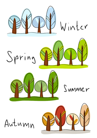 plant stand:   illustration. Four seasons - winter, spring, summer and autumn Illustration