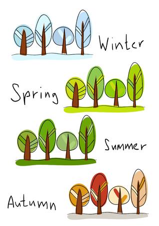 spring out: ilustraci�n. Cuatro temporadas - invierno, primavera, verano y oto�o  Vectores